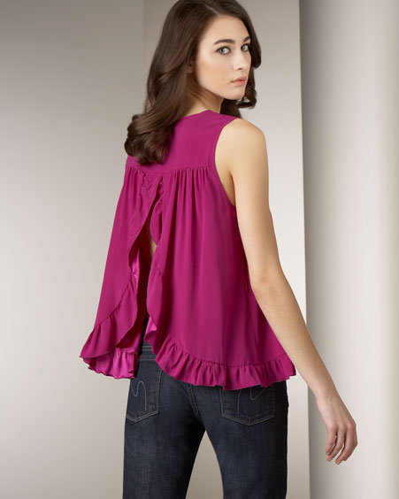 Alisha Levine Ruffled Open-Back Tank, Purple