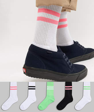 Asos DESIGN sport style socks with neon green & bright pink highlights 5 pack