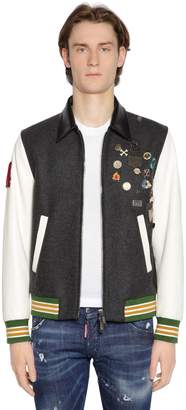 DSQUARED2 Felt & Leather Bomber W/ Denim Back