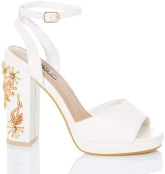 4fc6e34e282 White Jeweled Sandals - ShopStyle UK