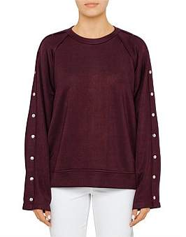 Alexander Wang Sleek French Terry Crew Neck Sweat Shirt With Snaps