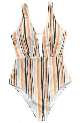 Seaselfie Women's Stripes High Waisted Padding One Piece Swimsuit Swimwear Large