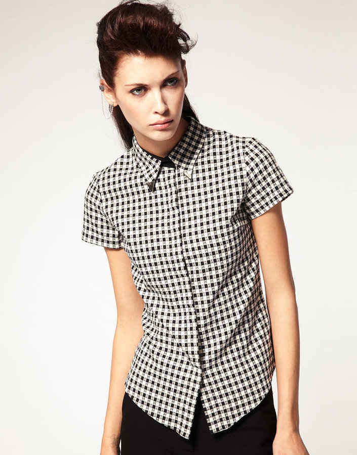 Antipodium Cotton Shirt in Gingham with Collar Tips