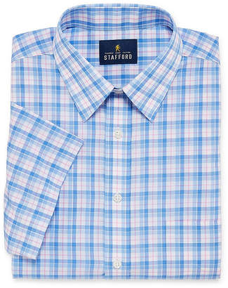 STAFFORD Stafford Travel Easy Care Broadcloth Short Sleeve Short Sleeve Broadcloth Plaid Dress Shirt- Big And Tall