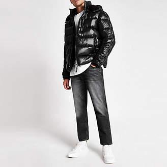 River Island Black Prolific tape hooded puffer jacket