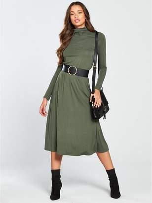 Very Roll Neck Midi Dress - Khaki