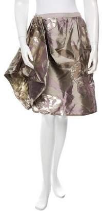 Oscar de la Renta Metallic-Accented Knee-Length Skirt