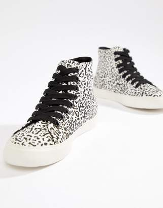 Asos DESIGN District high top sneakers in leopard print