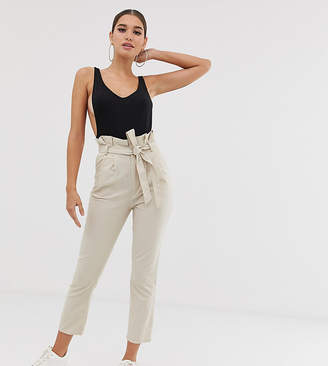 PrettyLittleThing exclusive cigarette trousers with paperbag waist in stone