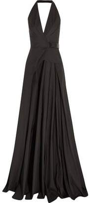 Bottega Veneta Leather-Trimmed Cotton Halterneck Gown