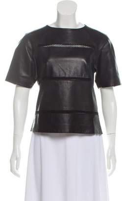 Tibi Short Sleeve Leather Top