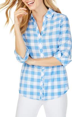 Foxcroft Dana Large Gingham Check Long Sleeve Cotton Blouse