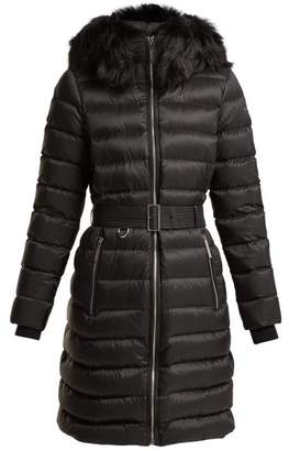 Burberry Dalmerton Shearling Hood Quilted Coat - Womens - Black