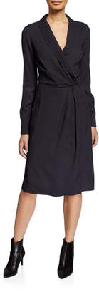 Rag & Bone Dean Draped Twill Long-Sleeve Wrap Dress