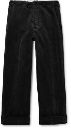Bellerose Zwart Wide-Leg Cropped Cotton-Corduroy Trousers