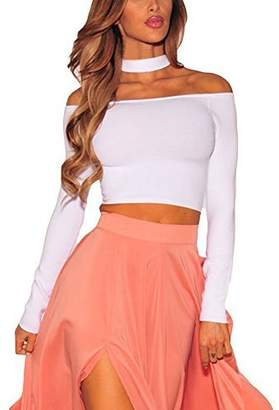 Come On Comeon Women\'s Basic Long Sleeve Off Shoulder Cropped Choker Crop Top
