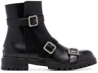 Jimmy Choo black hank crystal buckle leather boots