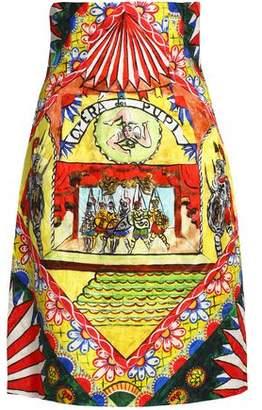 Dolce & Gabbana Flared Printed Cotton-Blend Jacquard Skirt