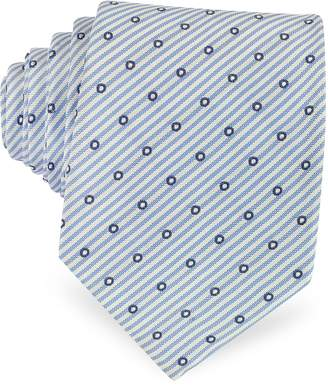 Forzieri Dots and Stripe Print Woven Silk Tie