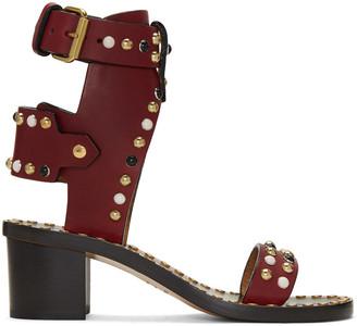 Isabel Marant Burgundy Studded Jeaeryn Sandals $910 thestylecure.com