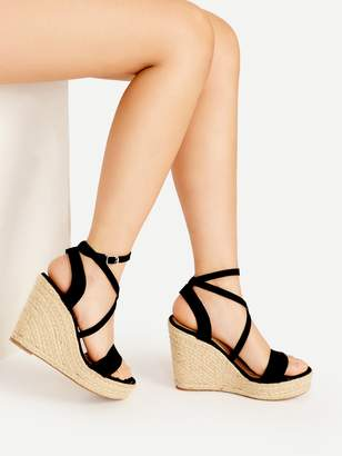 9cfd01fe23 Shein Cross Strap Espadrille Wedges