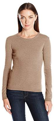 Lark & Ro Women's 100% Cashmere Soft Slim Fit Basic Crewneck Sweater