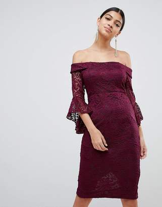 AX Paris Bardot Lace Midi Dress