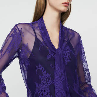 Maje Lavalier shirt in lace