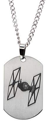 """Star Wars Jewelry Episode 7 Tie Fighter Laser Etched Dog Tag Pendant Necklace, 22"""""""