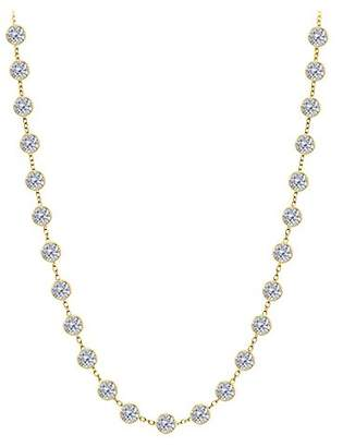 LoveBrightJewelry Diamond Necklace in 14K Gold Bezel Set 2.50 ct.tw