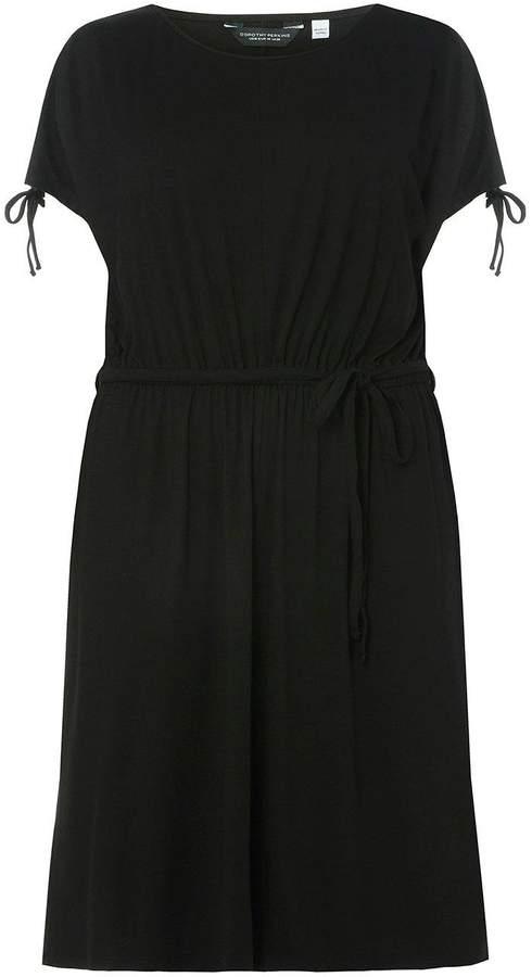 DP Curve Black Jersey Midi Skater Dress