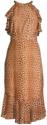 Rachel Zoe Posie Leopard Ruffled Flounce Silk Sheath Dress