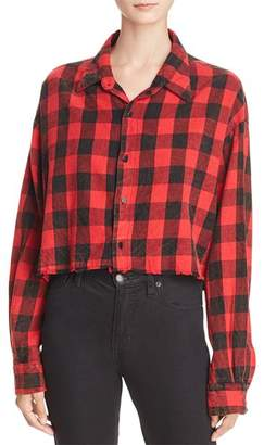 Vintage Havana Buffalo Plaid Cropped Shirt