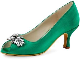 ElegantPark HP1540 Women Pumps Mid Heel Rhinestones Peep Toe Shoe-Clips Satin Evening Prom Shoes US 8