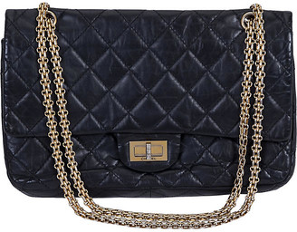 One Kings Lane Vintage Chanel Reissue Black Gold Jumbo Flap Bag - Vintage Lux