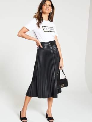 River Island Belted Pu Pleated Midi Skirt- Black