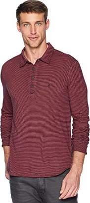 John Varvatos Men's Stripe Long Sleeve Polo