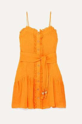 Lisa Marie Fernandez Ruffled Linen-blend Gauze Dress - Saffron