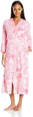 Miss Elaine Women's Interlock Knit Zip Robe