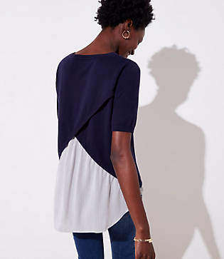 LOFT Petite Striped Crossover Mixed Media Sweater