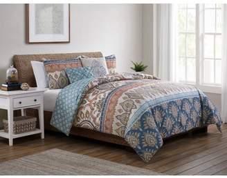 Vcny Home VCNY Home Madison Reversible Damask Boho Comforter Set, King, Rust Red