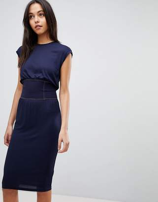 Asos Design Midi Dress with Corset Detail and Contrast Stitching