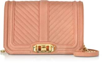 Rebecca Minkoff Small Dusty Peach Quilted Leather Love Crossbody Bag