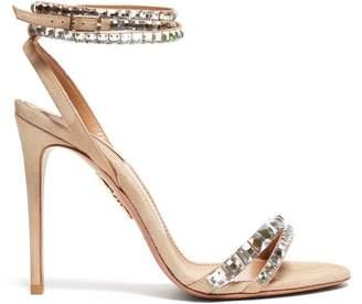 Aquazzura So Vera 105 Crystal Suede Sandals - Womens - Nude