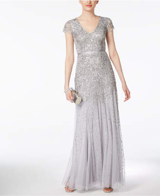 Adrianna Papell Cap-Sleeve Embellished Gown
