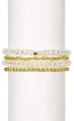 Mistraya Jewelry Crystal Quartz With Filigree Beads Stretch Bracelet Set