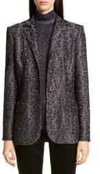 St. John Sequin Animal Jacquard Knit Jacket