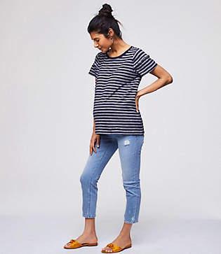 LOFT Maternity Skinny Crop Jeans in Destructed Light Indigo Wash