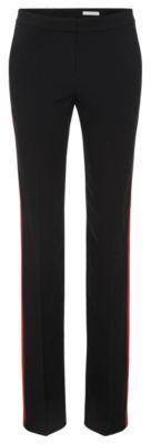 Hugo Boss Tatila Crepe Satin Racing Stripe Dress Pants 4 Black $345 thestylecure.com