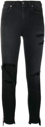 Gaelle Bonheur side logo stripe ripped jeans